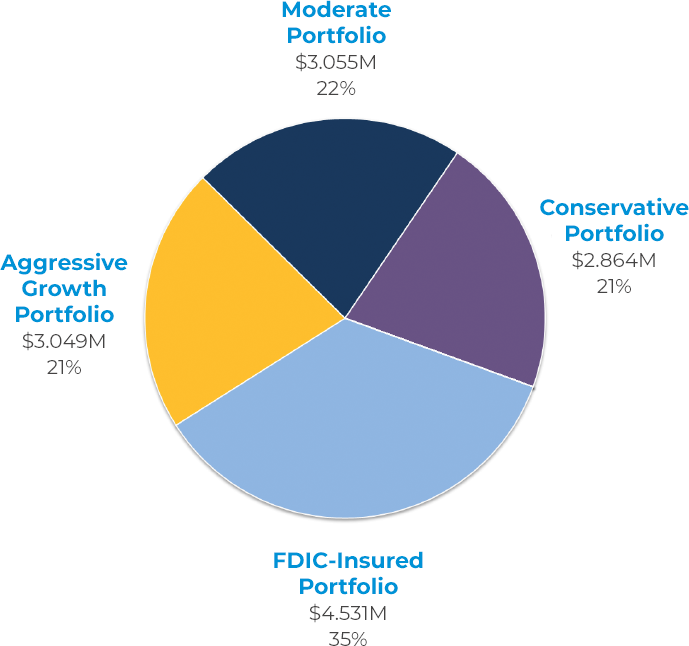 Pie chart showing the following data: Aggressive Growth Portfolio 21%; Moderate Portfolio 22%; Conservative Portfolio 21%; FDIC-Insured Portfolio 35%