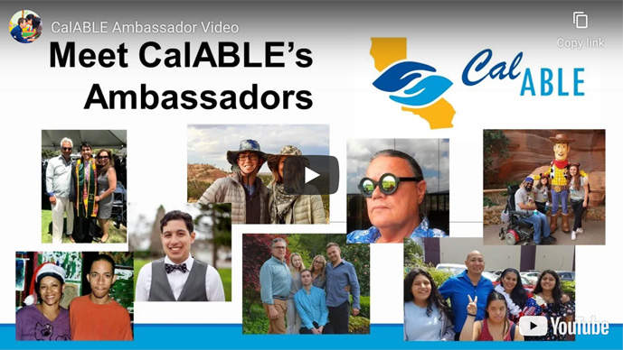 Click the arrow to go to YouTube to watch an overview of the CalABLE Ambassador program.
